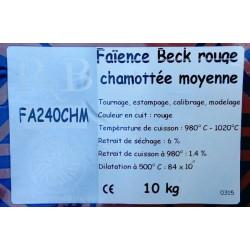"""FAIENCE """"BECK"""" ROUGE CHAMOTTEE MOY FA240CHM - SAC DE 10 Kg - Emaux, Oxydes et Engobes - Cigale et Fourmi"""