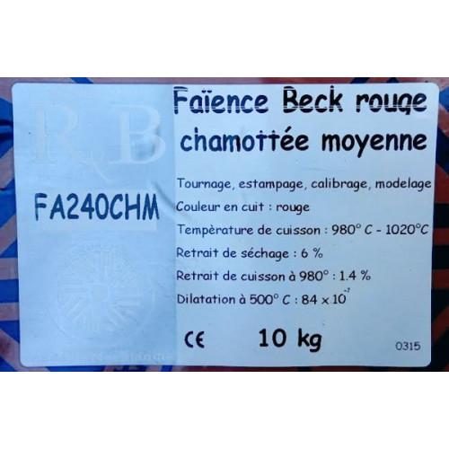 """Photo FAIENCE """"BECK"""" ROUGE CHAMOTTEE MOY FA240CHM - SAC DE 10 Kg - achat emaux-oxydes-et-engobes en ligne avec Cigale et Fourmi"""