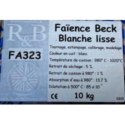 """FAIENCE """"BECK"""" BLANCHE LISSE FA323 - SAC DE 10 Kg - Terres à Faïence - Cigale et Fourmi"""