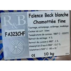 "FAIENCE ""BECK"" BLANCHE CHAM FINE FA323CHF - SAC 10 KG - Emaux, Oxydes et Engobes - Cigale et Fourmi"