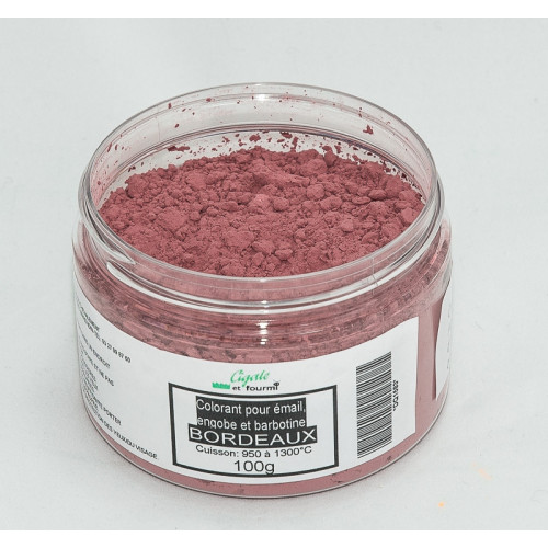 Photo COLORANT BORDEAUX EMAUX & BARBOTINE - 100g - achat colorants-de-masse en ligne avec Cigale et Fourmi